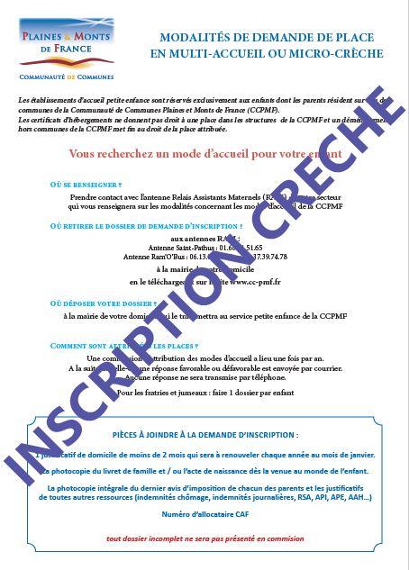 Dossier pour demande d'inscription en crèche