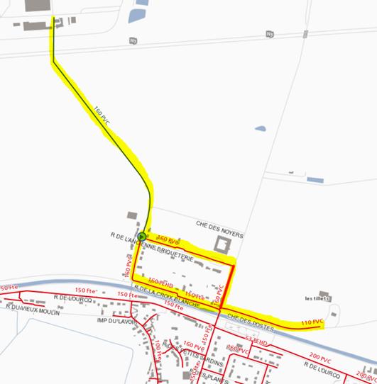 Plan des zones touchées par la coupure d'eau du 07.04.2021