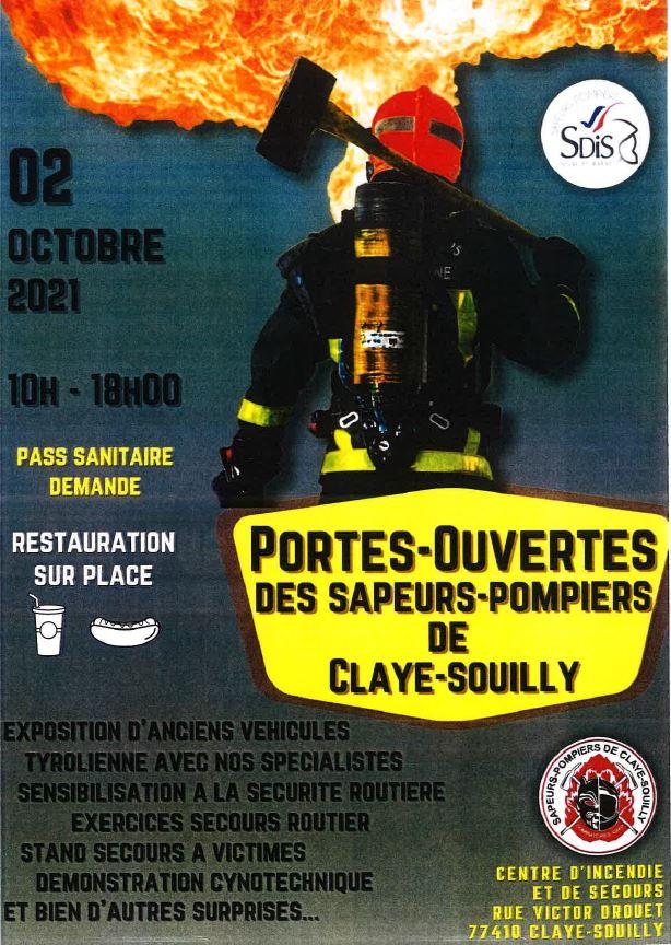 Portes ouvertes le 2 octobre 2021 à la caserne des pompiers de Claye-Souilly