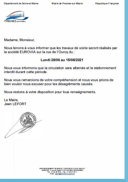 Communiqué de Presse de la Mairie de Fresnes sur Marne concernant les travaux de voirie réalisés rue de l'Ourcq en juin 2021