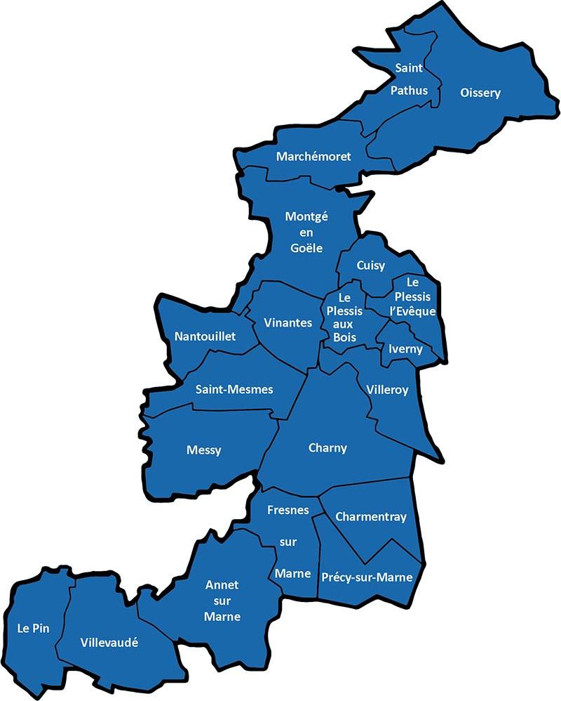 Carte des communes de la CCPMF